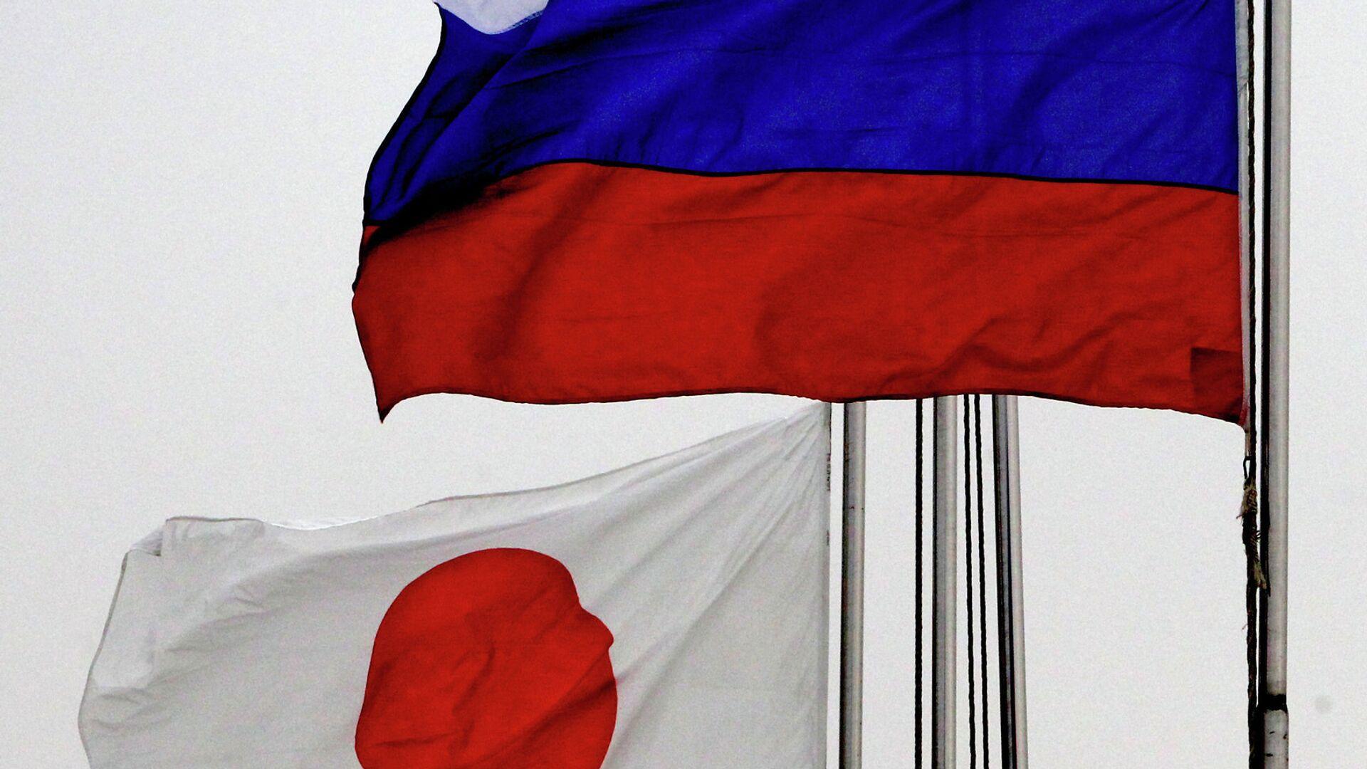 Государственные флаги России (справа) и Японии по случаю прибытия эсминца Хамагири Морских сил самообороны Японии во Владивосток - РИА Новости, 1920, 02.07.2021