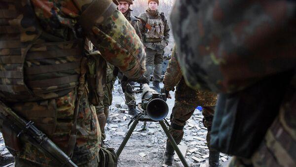 Украинские военные возле Широкино, Донецкая область