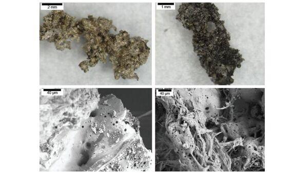 Частицы сажи в искусственном аналоге грунта Меркурия, созданного в лаборатории