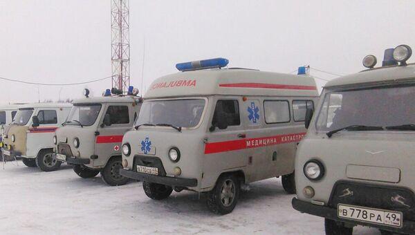 Автомобили скорой помощи в аэропорту Магадана