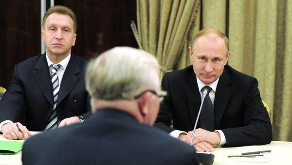 Президент России Владимир Путин проводит встречу с членами бюро Российского союза промышленников и предпринимателей (РСПП)