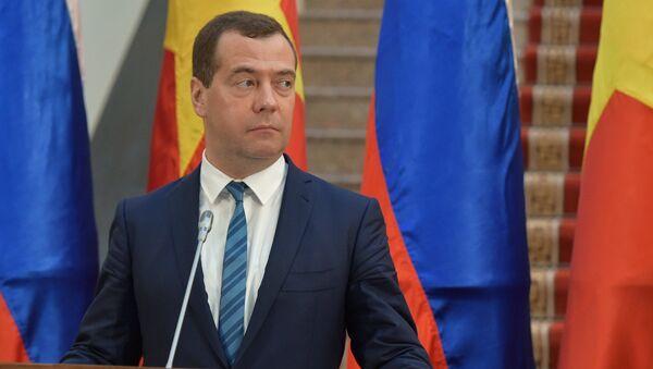 Председатель правительства РФ Дмитрий Медведев во время заявления для прессы по итогам российско-вьетнамских переговоров в Ханое, Вьетнам