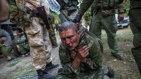 Украинский десантник, взятый в плен в ходе боя за город Шахтерск, 31 июля 2014