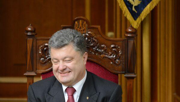 Президент Украины Петр Порошенко на внеочередном заседании Верховной Рады