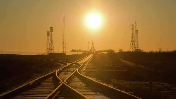 Вид на стартовый комплекс космодрома Байконур, архивное фото