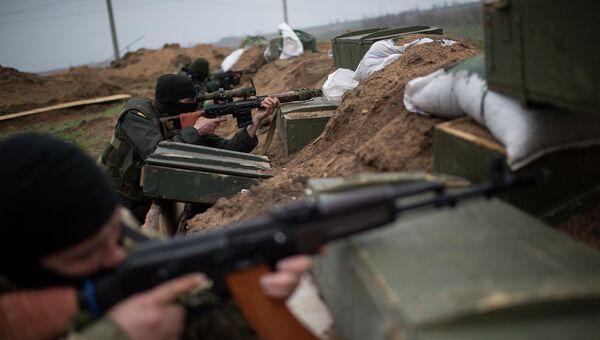 Украинские военные у села Широкино Донецкой области
