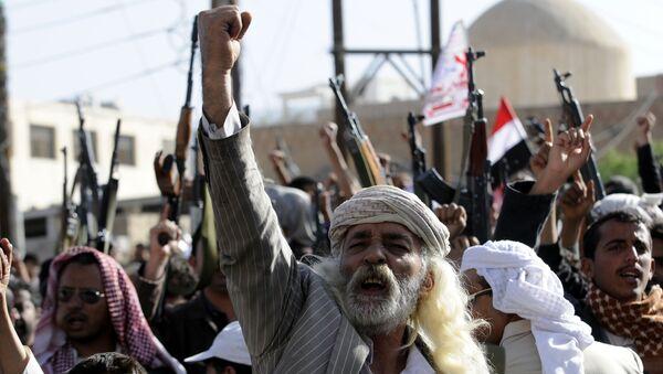 Участники акции протеста, поддерживающие шиитское движение хуситов. Йемен. Архивное фото