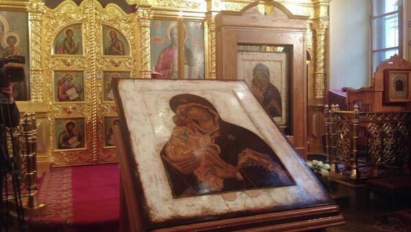 Освящение точного списка Донской иконы Божией Матери в храме святителя Николая в Толмачах при Третьяковской галерее