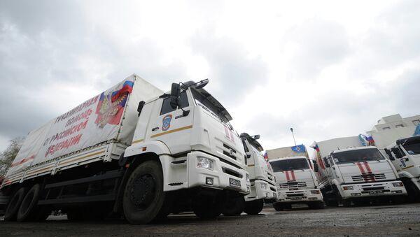 Формирование очередного гуманитарного конвоя в Ростовской области. Архивное фото
