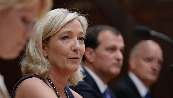 Французский политик Марин Ле Пен на встрече в Государственной Думе РФ