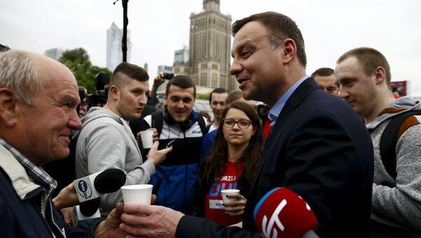 Кандидат в президенты Польши Анджей Дуда после окончания первого тура президентских выборов