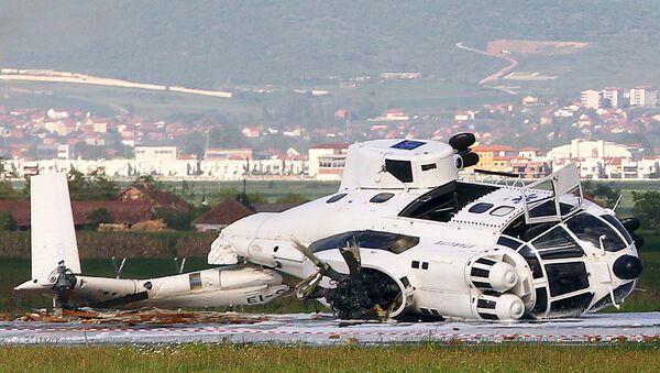 Вертолет миссии ЕС разбился в аэропорту Приштины. Косово, 12 мая 2015 год