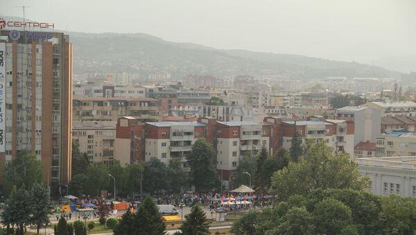 Постоянно действующий лагерь оппозиции в центре Скопье. Архивное фото