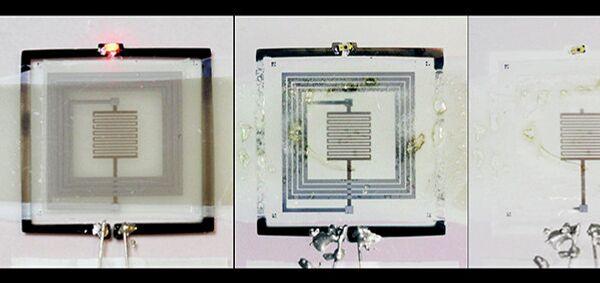 Фрагмент самоуничтожающейся электронной схемы на разных фазах ликвидации