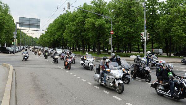 Участники мотопробега в Москве по случаю гибели своего товарища в ДТП. Архивное фото