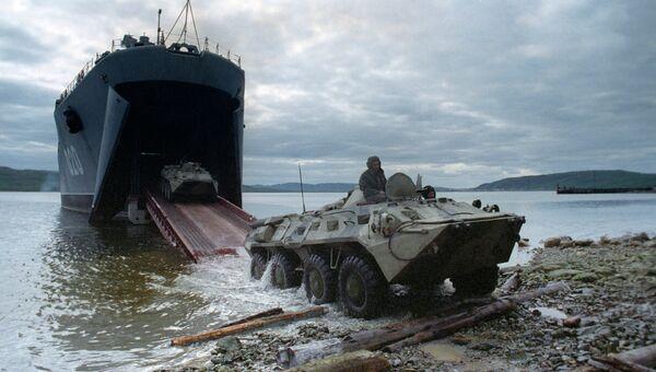Учебная высадка десанта с большого десантного корабля Митрофан Москаленко