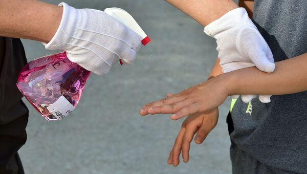 Медицинский работник проводит дезинфекцию в начальной школе. Архивное фото