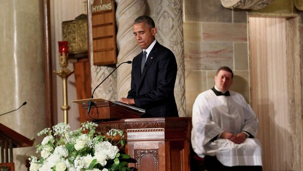 Барак Обама во время церемонии прощания с Джозефом Бо Байденом. Уилмингтон (штат Делавэр), США