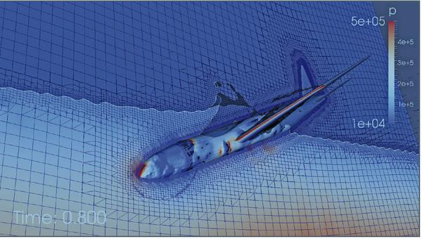 Кадр из гидродинамического симулятора падения Боинга