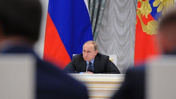 Президент России Владимир Путин на заседании Совета при президенте по науке и образованию
