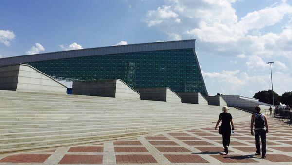 Конгресс-холл в Уфе, где 8-10 июля пройдут основные мероприятия саммитов ШОС и БРИКС