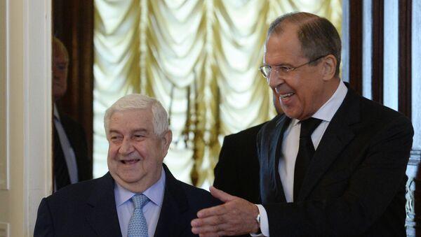 Министр иностранных дел РФ Сергей Лавров и глава МИД Сирии Валид Муаллем на встрече в Москве. Архивное фото