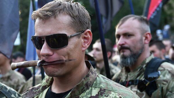 Украинские националисты на демонстрации в Киеве. 3 июля 2015