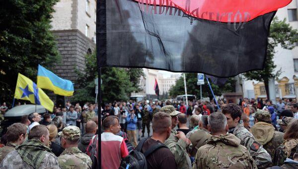 Митинг Правого сектора у здания администрации президента Украины. Архивное фото.