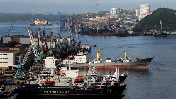 Вид с вантового моста через бухту Золотой Рог во Владивостоке, архивное фото