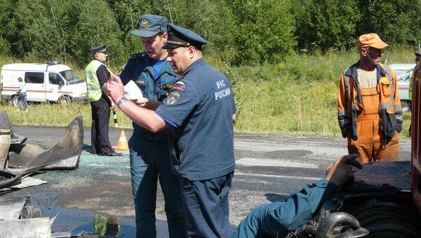 На месте ДТП с участием рейсового автобуса в Козульском районе Красноярского края