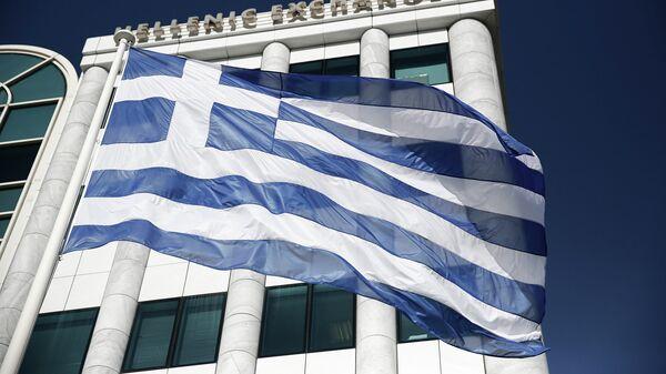 Греческий флаг, архивное фото