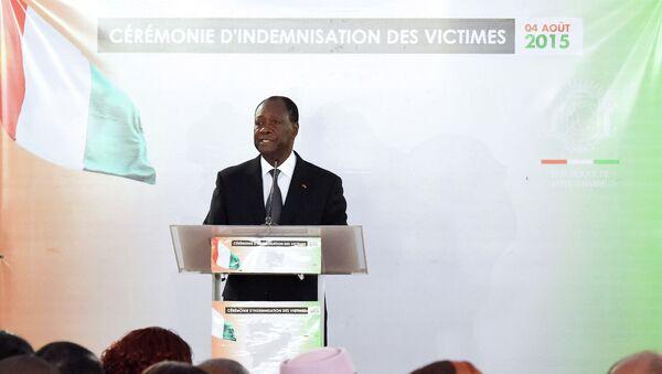 Президент Кот-д'Ивуара Алассан Уаттара выступает в президентском дворце в Абиджане. Архивное фото
