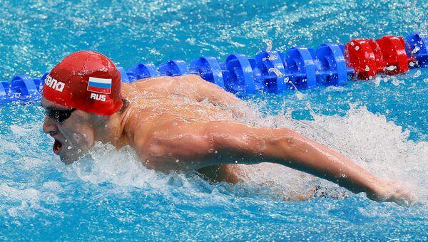 Даниил Пахомов (Россия) на дистанции эстафеты 4х100 в квалификации среди мужчин на XVI чемпионате мира по водным видам спорта в Казани