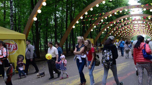 Отдыхающие в парке Сокольники в Москве. Архивное фото