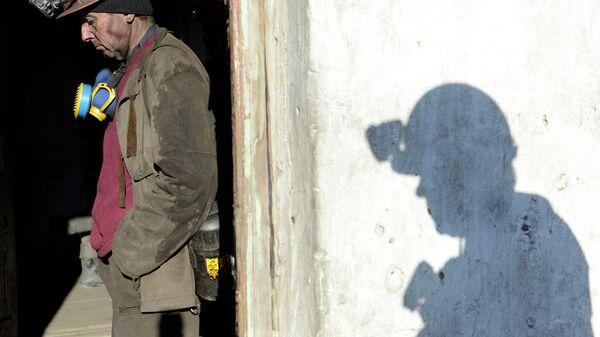 Рабочий на шахте Холодная Балка в Донецкой области, Украина