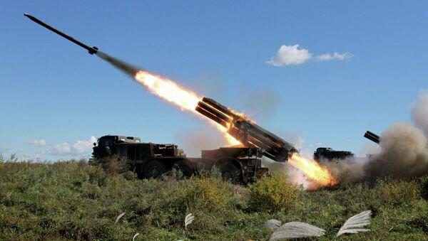 Реактивная артиллерийская батарея системы залпового огня БМ-27 Ураган