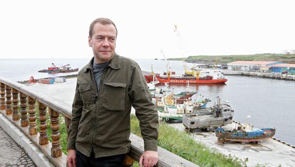 Рабочая поездка премьер-министра РФ Д.Медведева в ДФО. Курильские острова