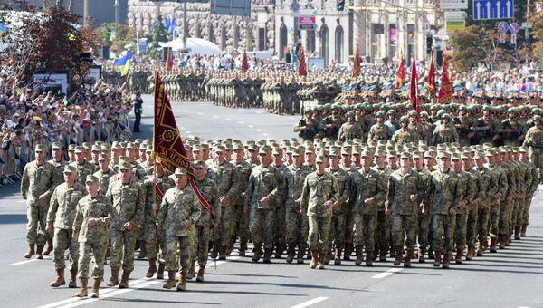 Военнослужащие ВСУ на марше в честь Дня Независимости в Киеве