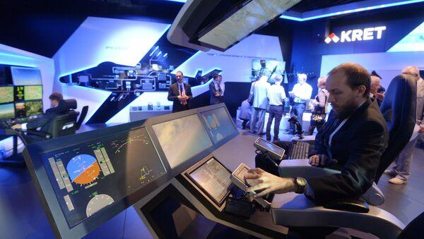 Стенд концерна Радиоэлектронные технологии (КРЭТ) во время открытия Международного авиационно-космического салона МАКС-2015