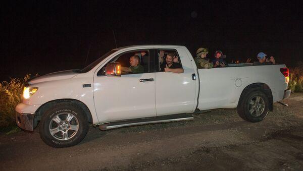 Освобожденные ополченцы армии ДНР в районе населенного пункта Марьинка