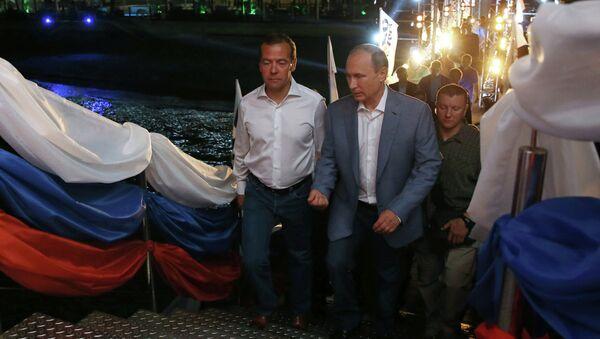 Президент РФ В.Путин и премьер-министр РФ Д.Медведев посетили турнир по боевому самбо в Сочи