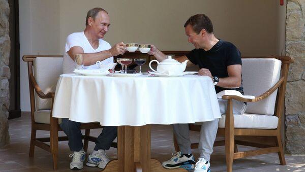 Встреча президента РФ В.Путина и премьер-министра РФ Д.Медведева в Сочи