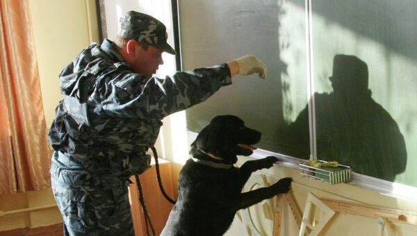 Кинолог с собакой в здании школы