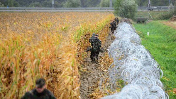 Колючая проволока на границе Венгрии и Словении
