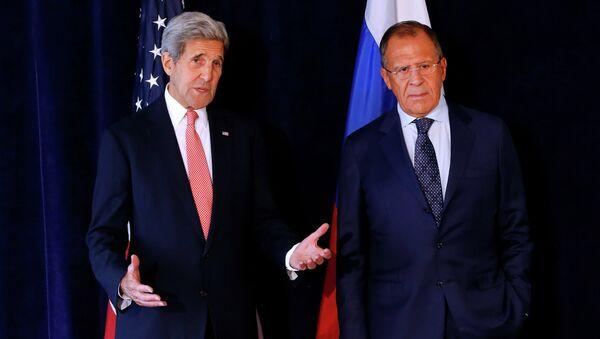 Встреча главы МИД РФ Сергея Лаврова и госсекретаря США Джона Керри в ООН