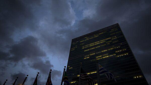 Здание штаб-квартиры ООН на Манхэттене в Нью-Йорке, США. 28 сентября 2015