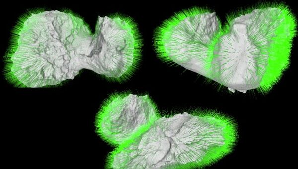 Карта векторов силы притяжения на поверхности половинок кометы Чурюмова-Герасименко