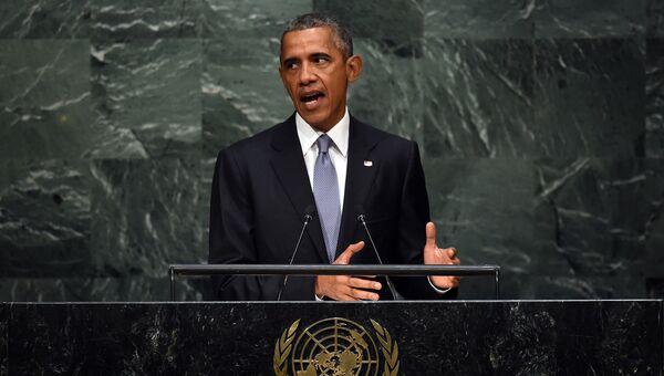 Президент США Барак Обама во время выступления на Генассамблее ООН. 28 сентября 2015
