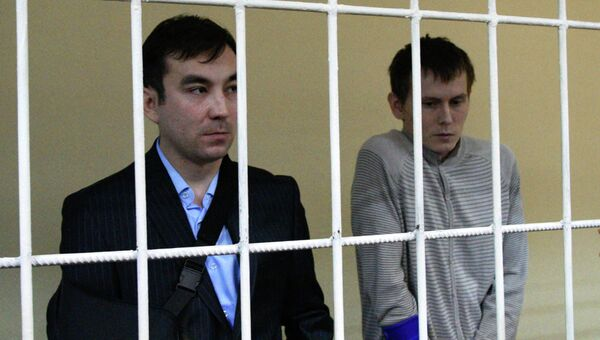 Россияне Евгений Ерофеев (слева) и Александр Александров, задержанные на Украине в мае 2015 года. Архивное фото
