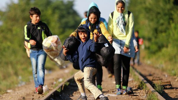 Дети мигрантов пересекают сербско-венгерскую границу. Архивное фото